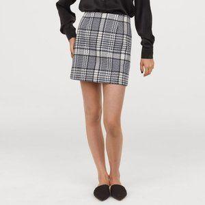 H&M Wool-Blend Plaid Skirt - Blue & White